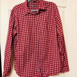 Eddie Bauer red plaid button up dress shirt